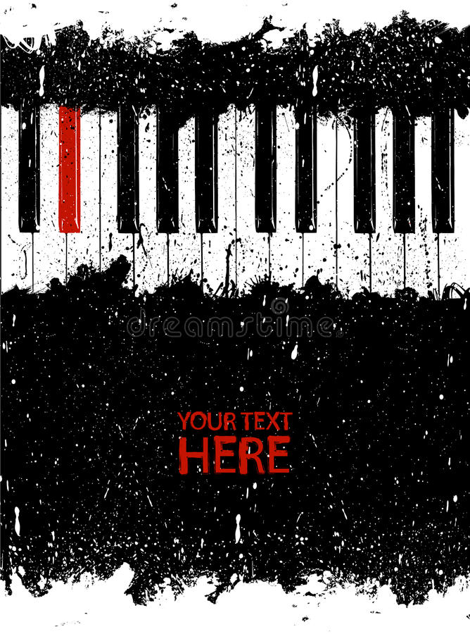 Chave vermelha suja do piano ilustração stock