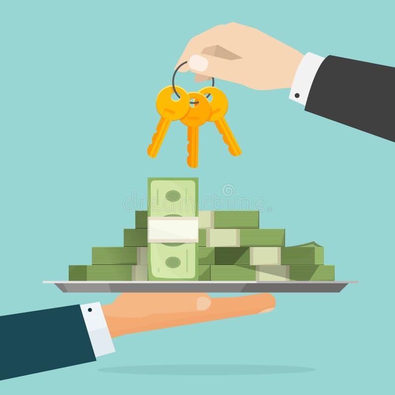 Chaves à ilustração do vetor do sucesso, mãos que dão o dinheiro e a chave ilustração do vetor