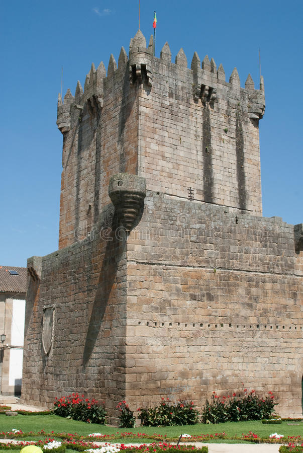 Chaves. Medieval tower in Chaves, Portugal royalty free stock photo
