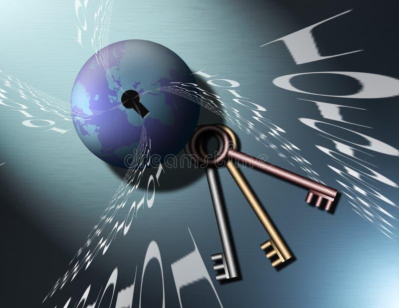 Chaves ao globo binário imagens de stock royalty free