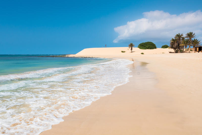 Chaves beach Praia de Chaves in Boavista Cape Verde - Cabo Verd. E royalty free stock images