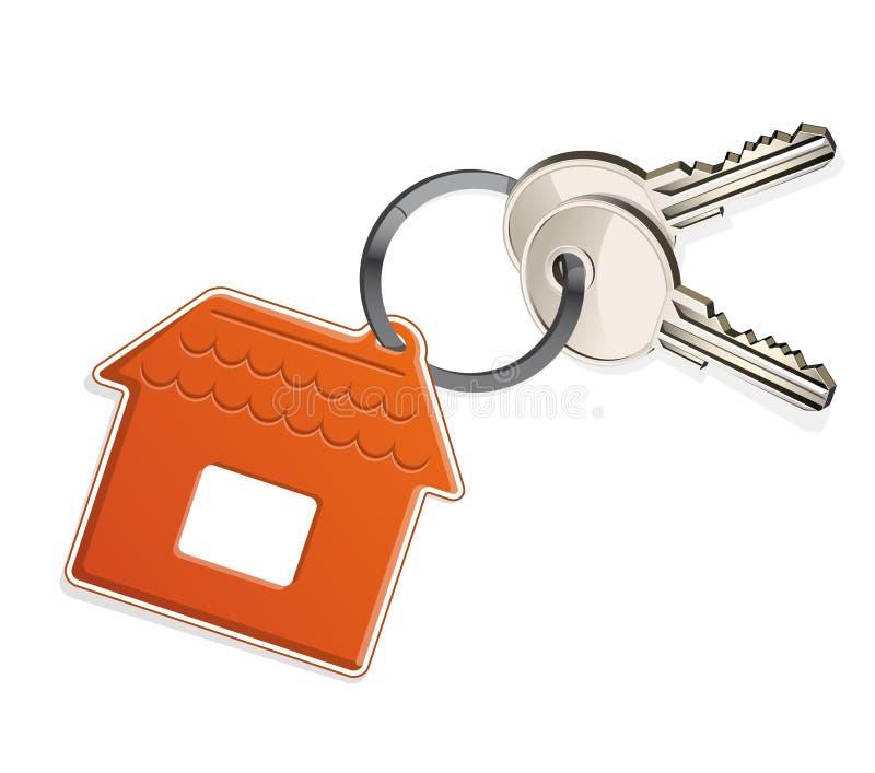 Chaves da casa com corrente ilustração stock