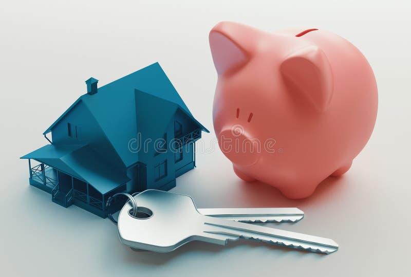 Chaves da casa e mealheiro, rendição 3d ilustração stock