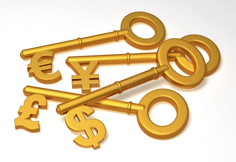 chaves da moeda 3D ilustração royalty free