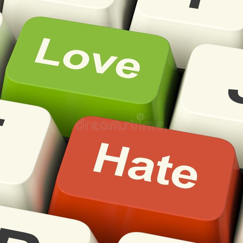 Chaves de computador do ódio do amor que mostram a raiva e o conflito da emoção foto de stock royalty free