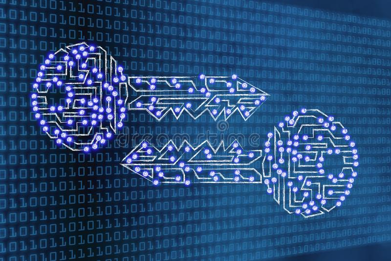 Chaves de Digitas com luzes conduzidas no fundo do código binário ilustração stock