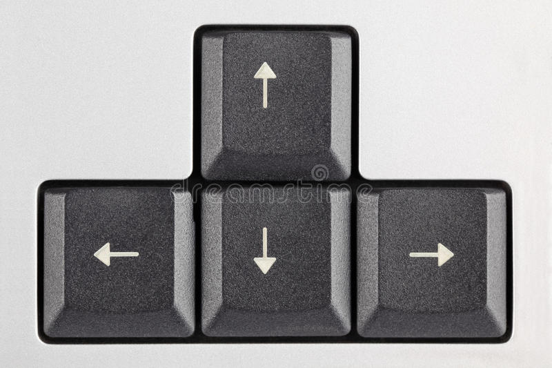 Chaves de seta no teclado foto de stock