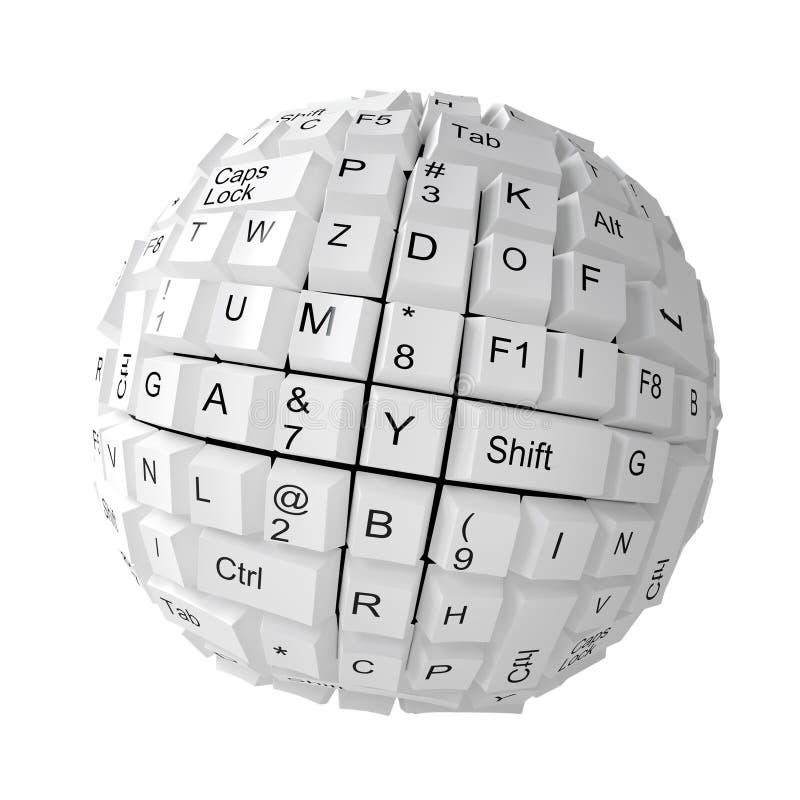 Chaves de teclado aleatórias que formam uma esfera ilustração do vetor