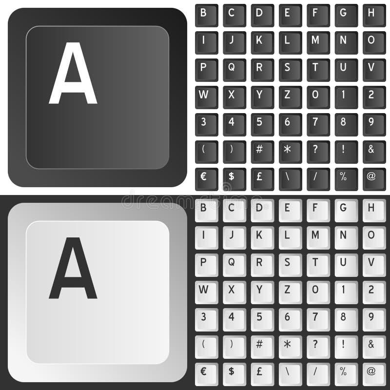 Chaves de teclado pretas & brancas ilustração do vetor