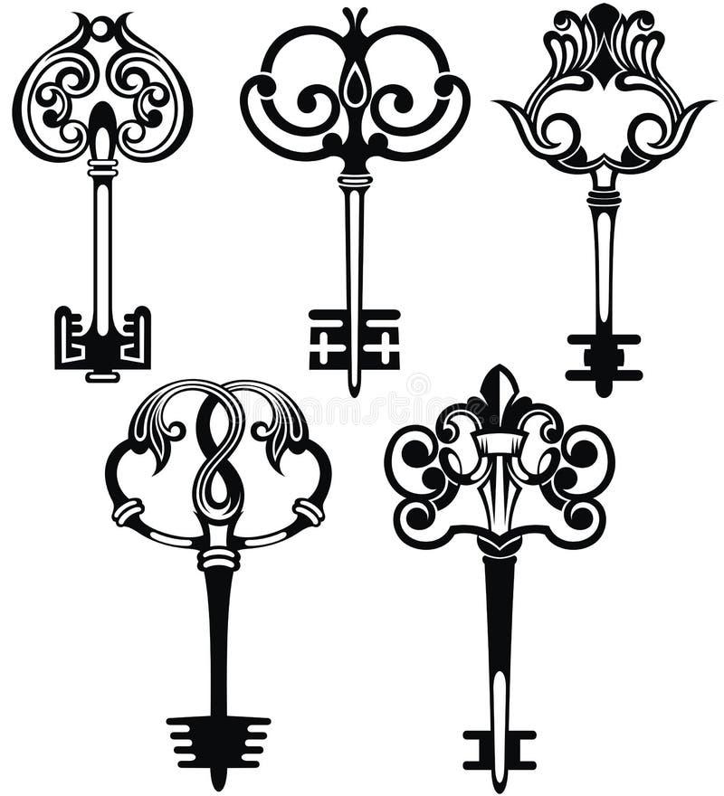Chaves decorativas do vintage ilustração stock