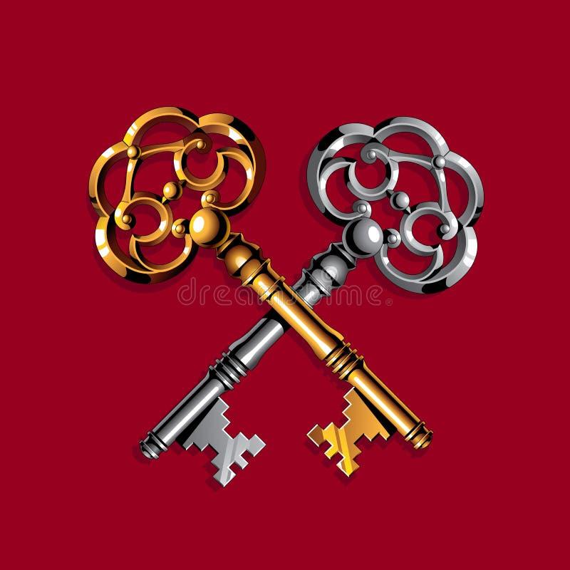 Chaves do ouro e da prata ilustração royalty free