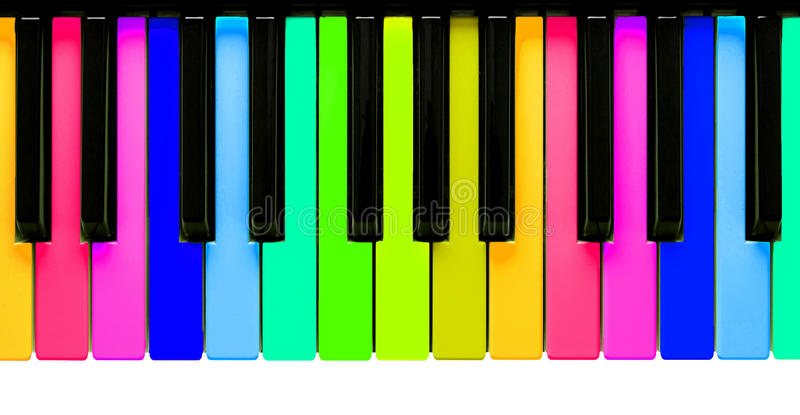 Chaves do piano do arco-íris fotografia de stock