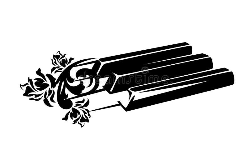 Chaves do piano e projeto preto do vetor das rosas ilustração do vetor