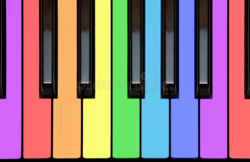 Chaves do piano, keyborad, notas em cores do arco-íris ilustração royalty free