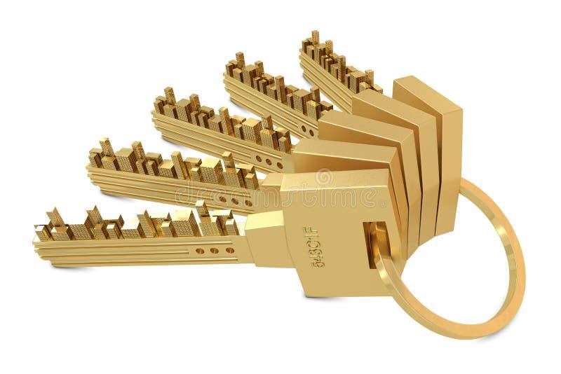 Chaves douradas com edifícios ilustração do vetor