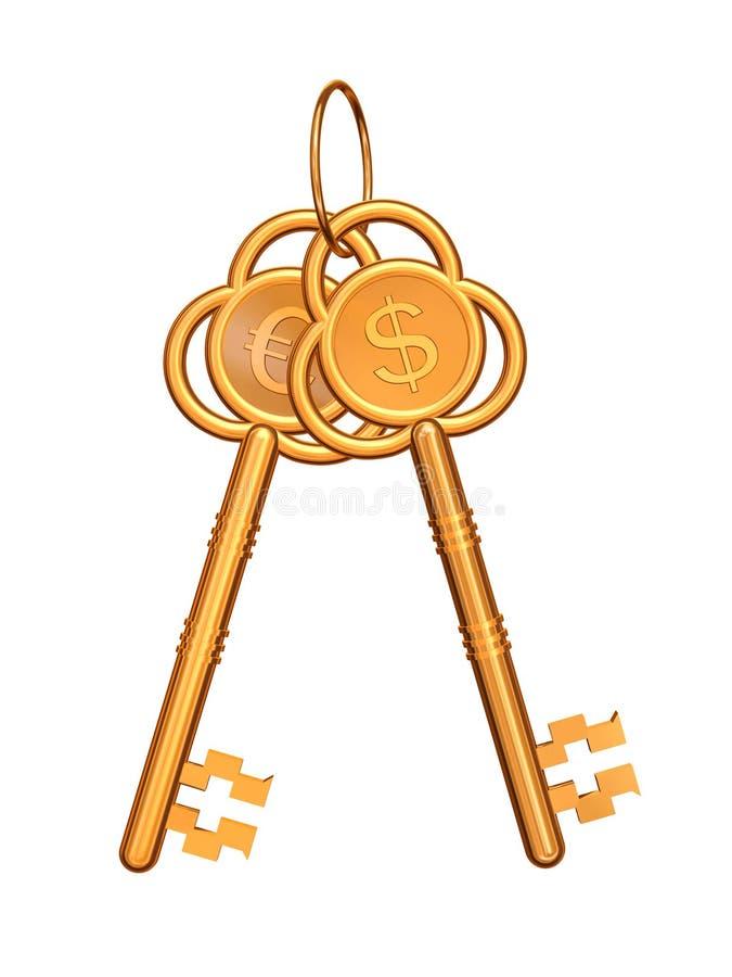 Chaves douradas com euro e dólar ilustração stock