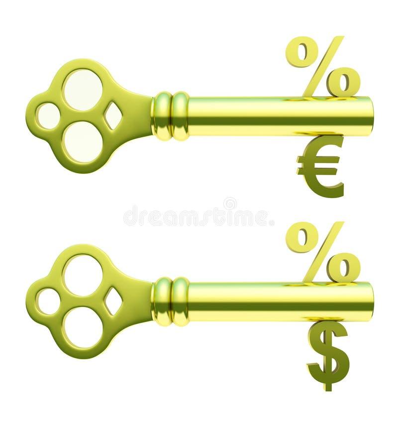 Chaves douradas com símbolos dos por cento, do euro e do dólar ilustração royalty free