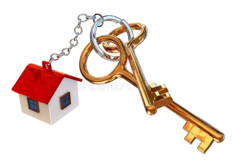 Chaves douradas da casa com encanto ilustração stock