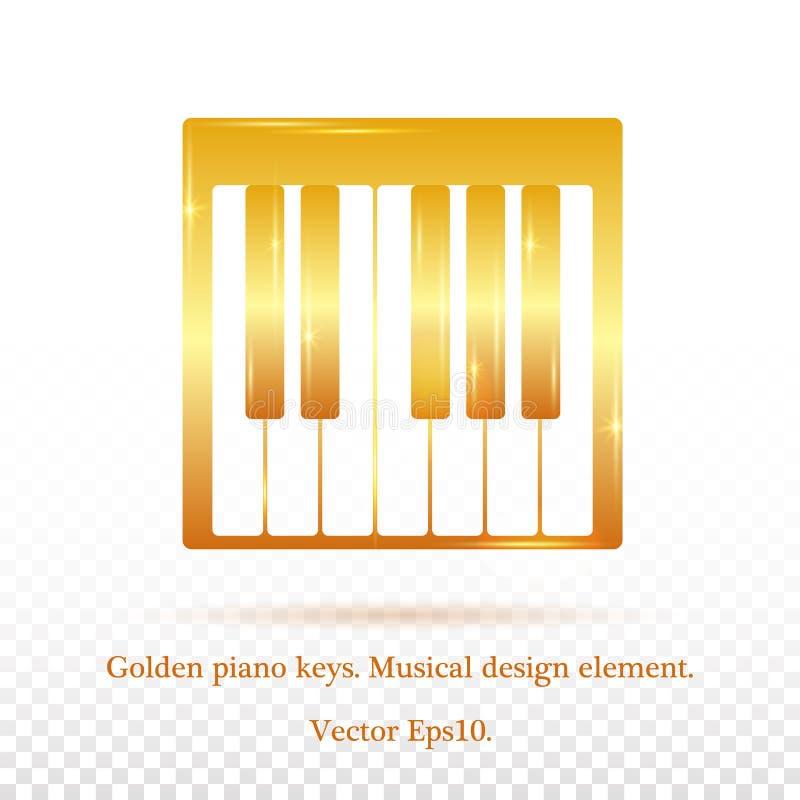 Chaves douradas do piano Glitter dourado Inspira??o, profiss?o, passatempo M?sica, som ? um ?ndice real da m?sica da alma O piano ilustração do vetor