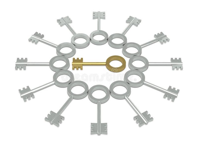 Chaves douradas e de prata ilustração royalty free