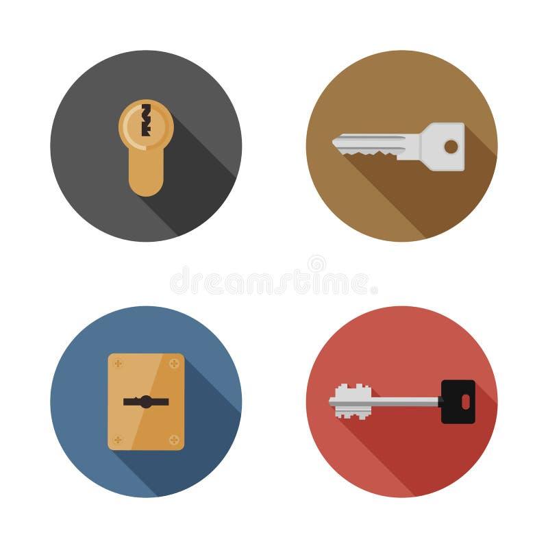 Chaves e ícones dos buracos da fechadura ilustração stock