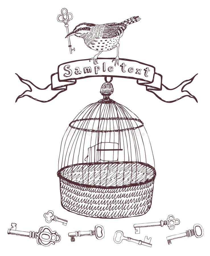 Chaves e cartão do projeto do pássaro ilustração do vetor