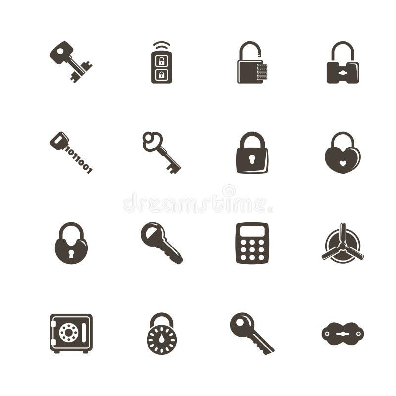 Chaves e fechamentos - ícones lisos do vetor ilustração stock