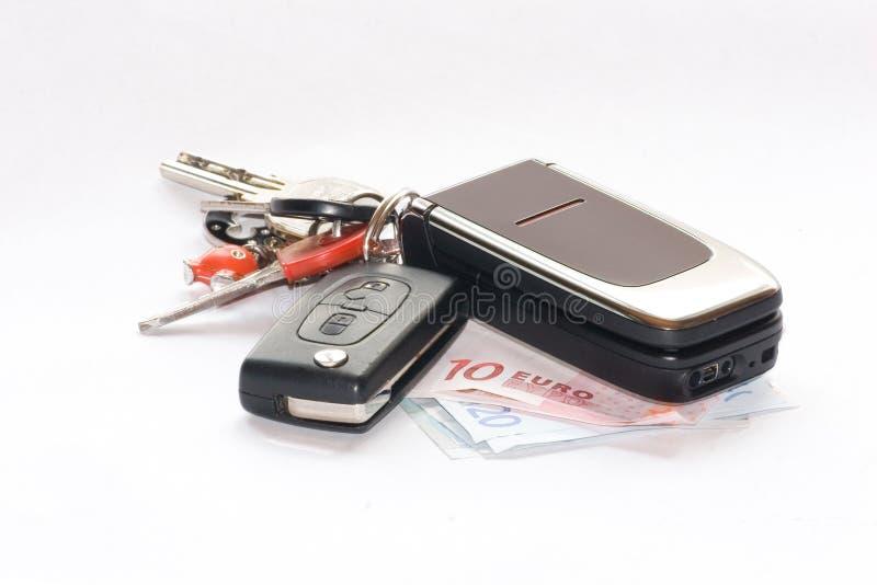 Chaves e telefone de pilha imagens de stock