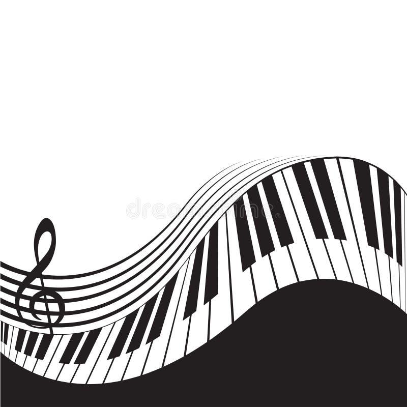 Chaves estilizados e pauta musical do piano ilustração do vetor