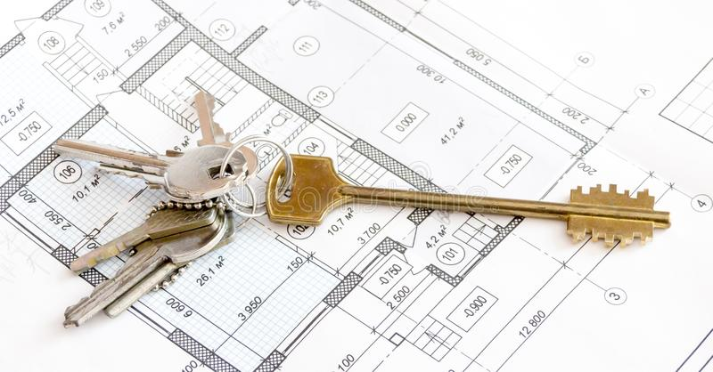 Chaves nos desenhos, plano do apartamento do apartamento, casa de campo imagem de stock
