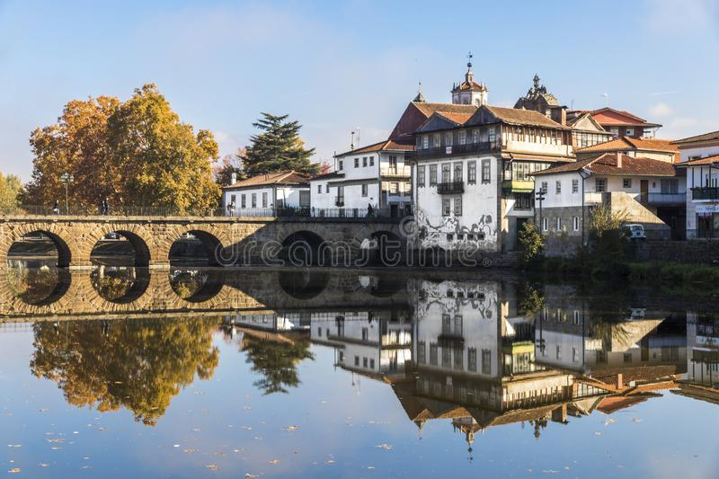 Chaves, Portugal. The historic Roman bridge of Emperor Trajan in the city of Chaves, in the north of Portugal royalty free stock photos