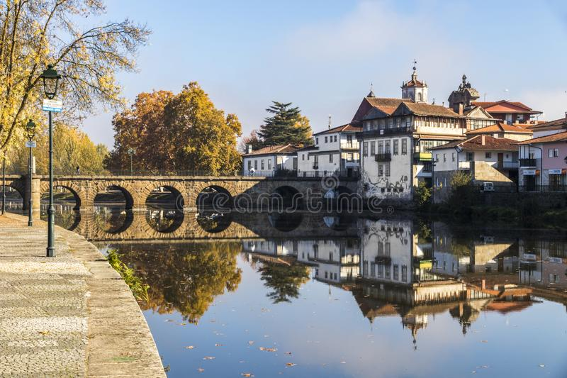 Chaves, Portugal. The historic Roman bridge of Emperor Trajan in the city of Chaves, in the north of Portugal stock photos