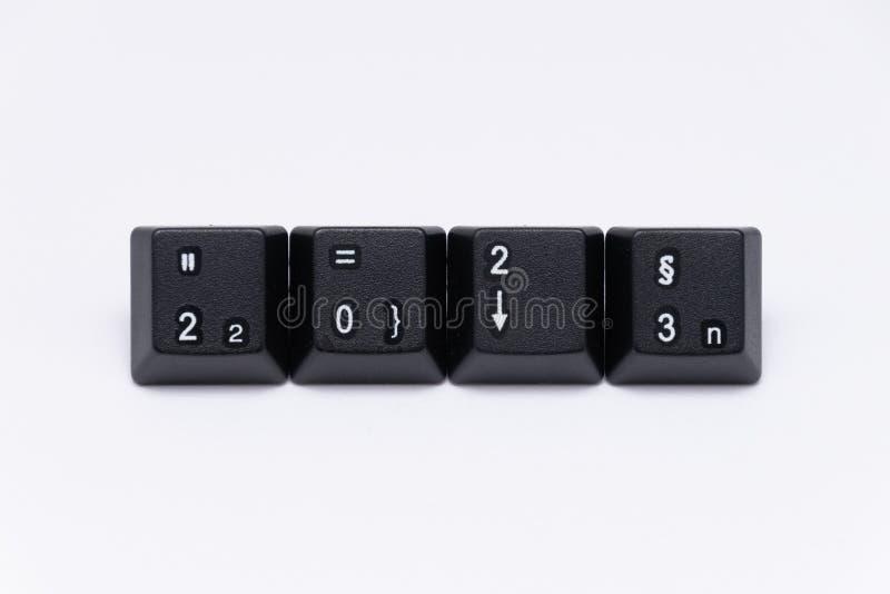 Chaves pretas do teclado com anos diferentes, palavras, nomes foto de stock royalty free