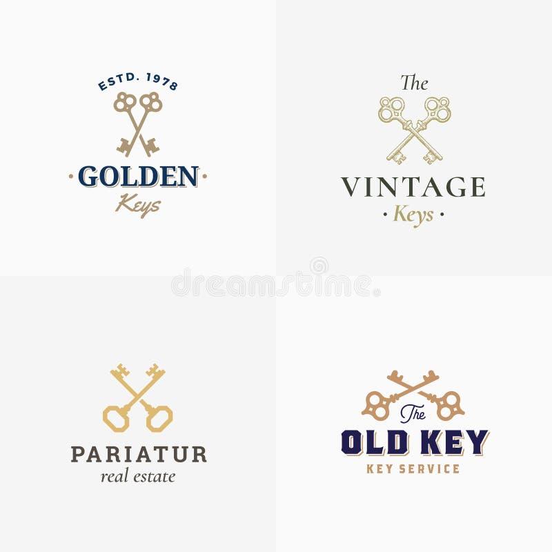 Chaves retros ajustadas Sinais, símbolos ou Logo Templates abstrato do vetor Chaves cruzadas diferentes Sillhouettes com elegante ilustração stock