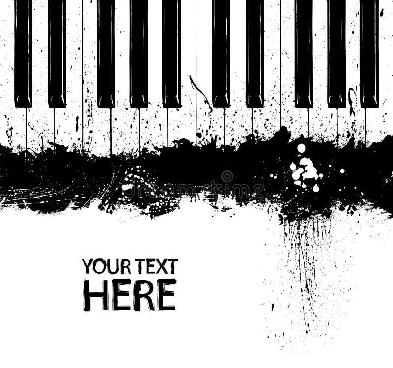 Chaves sujas do piano de Grunge ilustração royalty free
