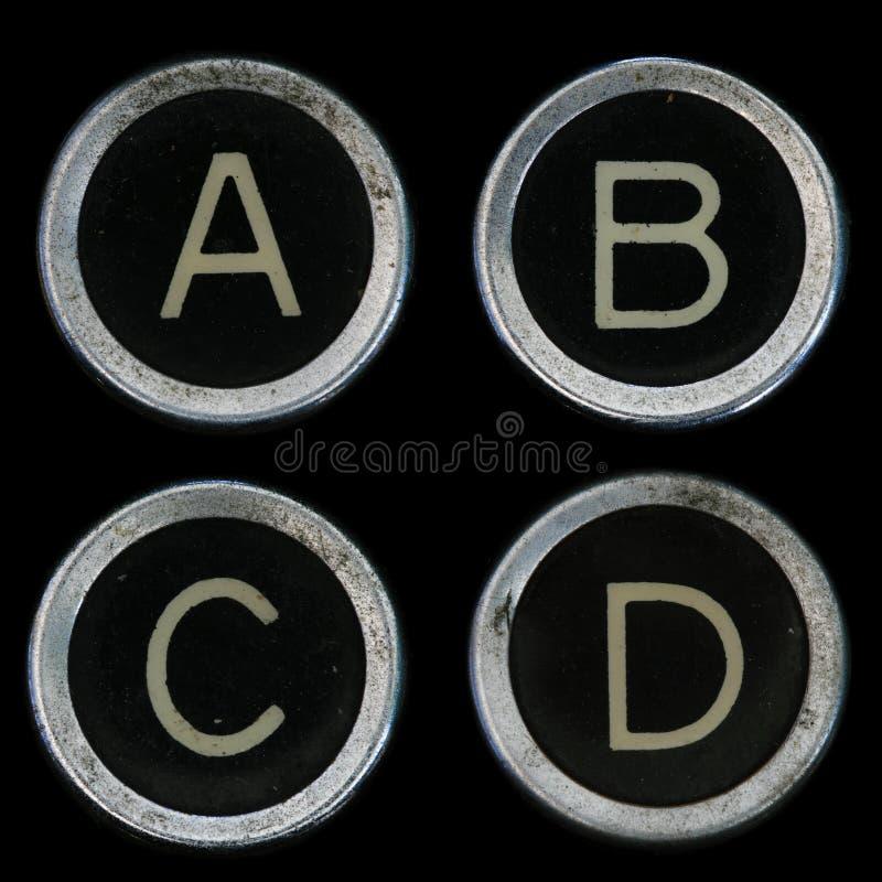 Chaves velhas da máquina de escrever A B C D imagens de stock royalty free