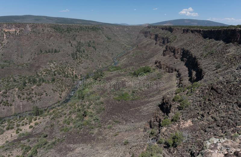 Horizontal of the Chawalauna overlook in New Mexico. The Chawalauna overlook gives a wonderful view of the Rio Grande Gorge in northern New Mexico stock photo