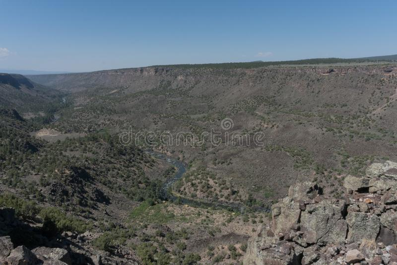 The Chawalauna overlook in New Mexico. The Chawalauna overlook gives a wonderful view of the Rio Grande Gorge in northern New Mexico stock image