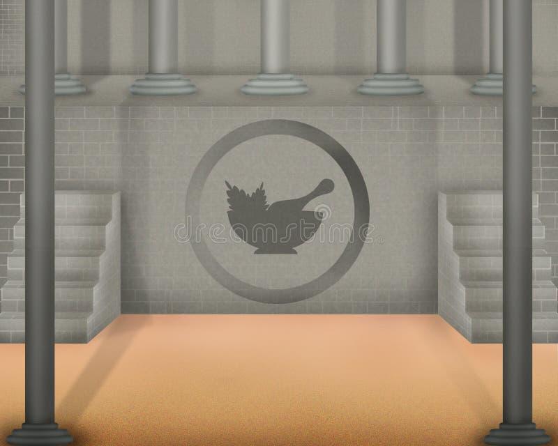 Chawan or tea bawl symbol on old gray wall and pillars on side. Illustration on gray stock illustration