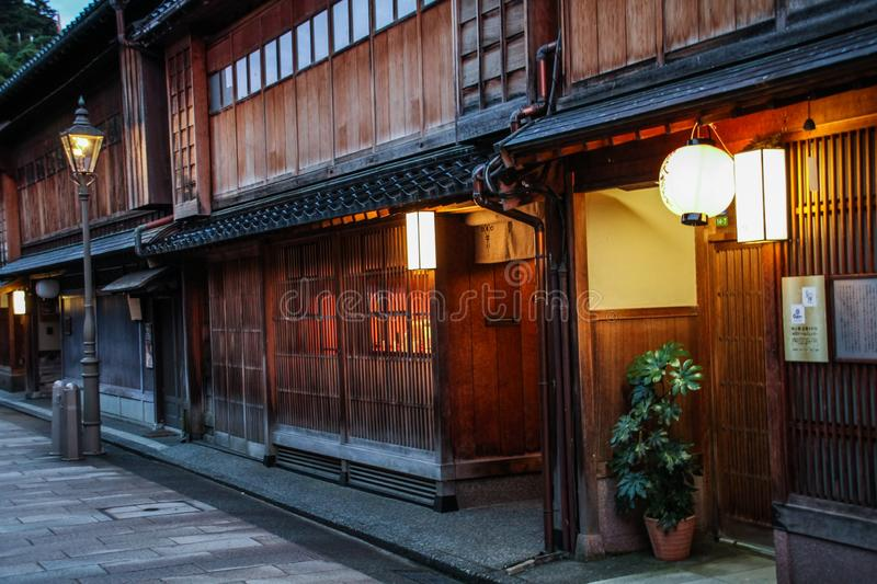 The beautiful Higashi Chaya District at dusk, Kanazawa, Chubu prefecture, Japan. A chaya lit. teahouse is an exclusive type of restaurant where guests are royalty free stock photos