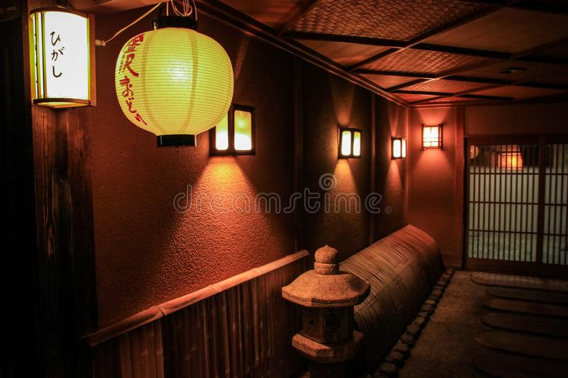 The beautiful Higashi Chaya District at night, Kanazawa, Chubu prefecture, Japan. A chaya lit. teahouse is an exclusive type of restaurant where guests are royalty free stock image