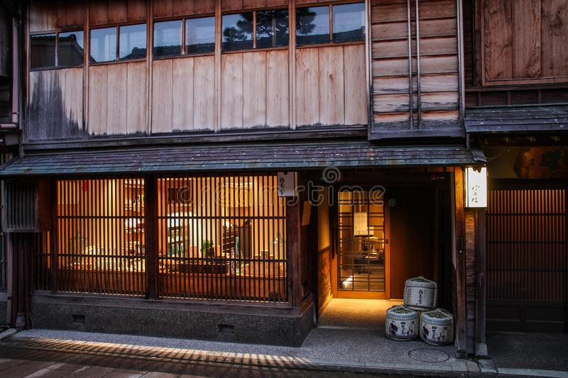 The beautiful Higashi Chaya District at dusk, Kanazawa, Chubu prefecture, Japan. A chaya lit. teahouse is an exclusive type of restaurant where guests are royalty free stock photo