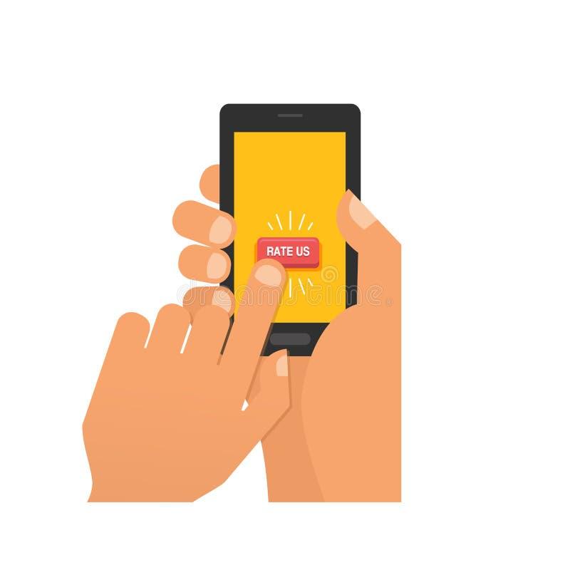 Chcemy twój informacje zwrotne ilustraci pojęcie Ręka chce dawać pięć gwiazdowej ocenie na smartphone Sztandar dla biznesu ilustracji
