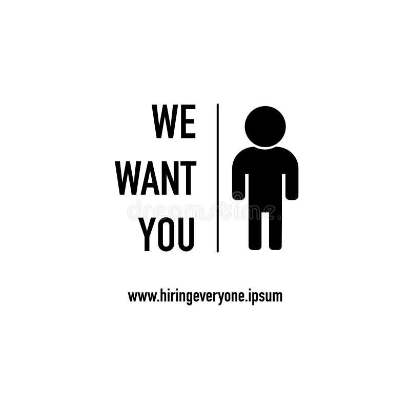Chcemy was przygotowywamy zatrudniać wektor ilustracja wektor