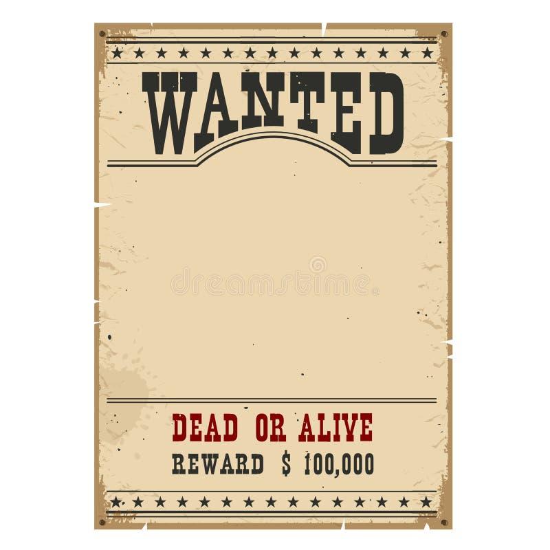 chcesz plakat Zachodni rocznika papier na drewno ścianie dla projekta royalty ilustracja