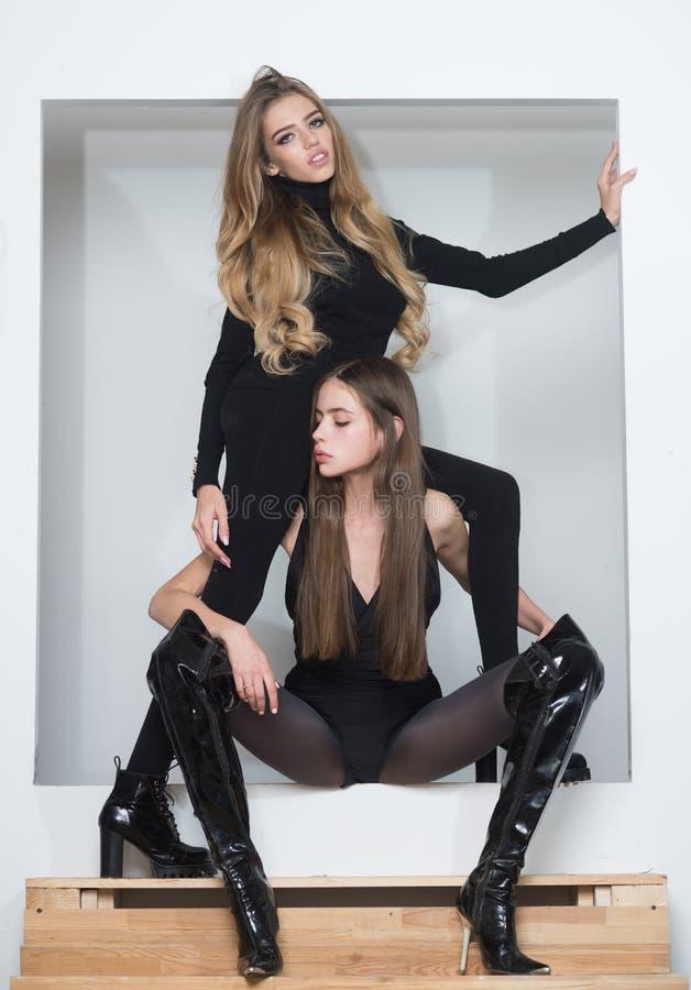chciał po prostu zabaw Dam bodysuits rajstopy czarne szpilki patrzeją zanudzać Przyjaciele w ciasnych ubraniach zanudzających wyn fotografia royalty free