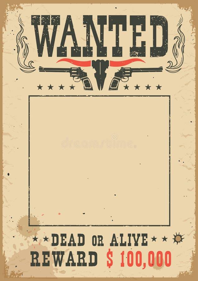 Chcieć plakat z dziką zachodnią dekoracją Wektorowa zachodnia ilustracja dla przyjęcia royalty ilustracja
