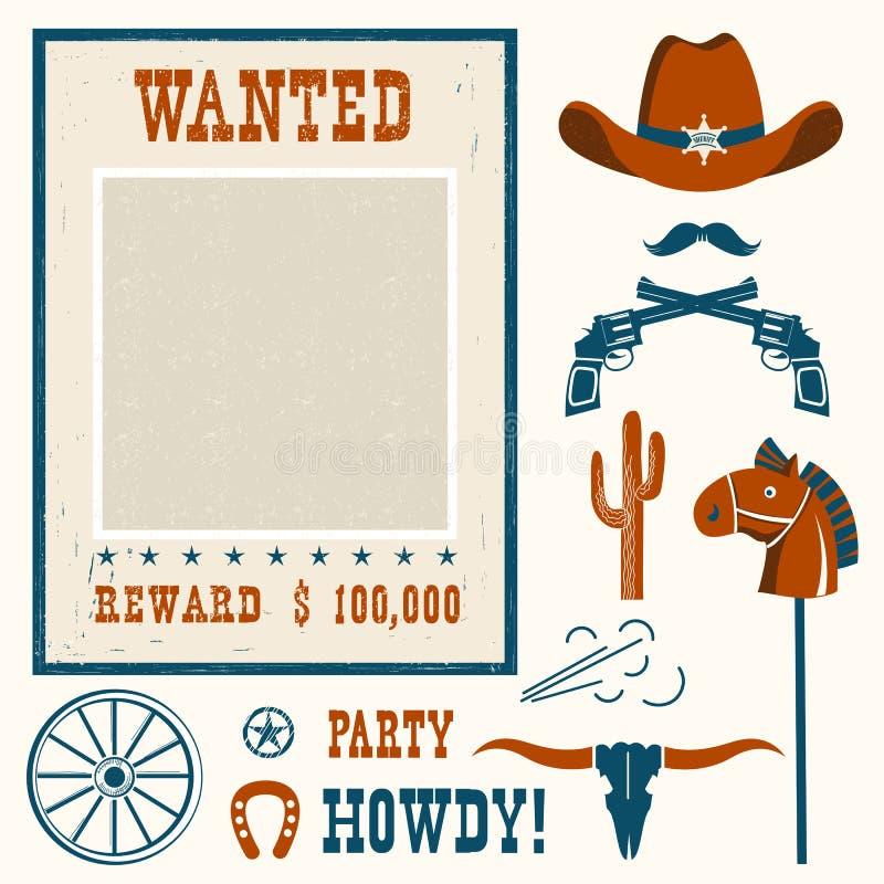 Chcieć plakat dla kowboja przyjęcia ilustracji