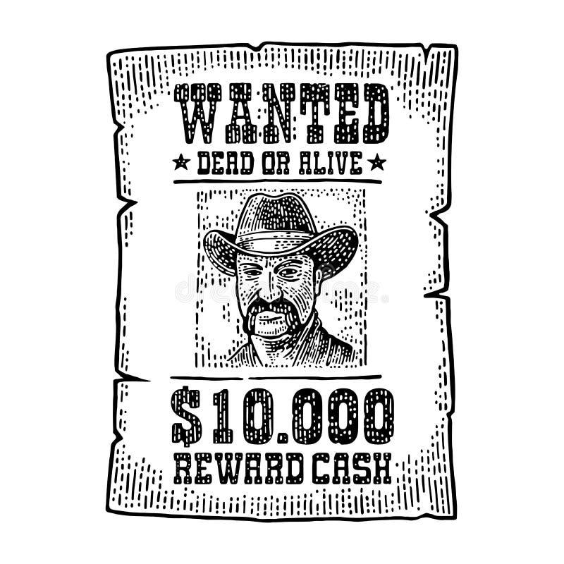 Chcieć plakat z mężczyzna w kapeluszu Rocznika rytownictwo ilustracji