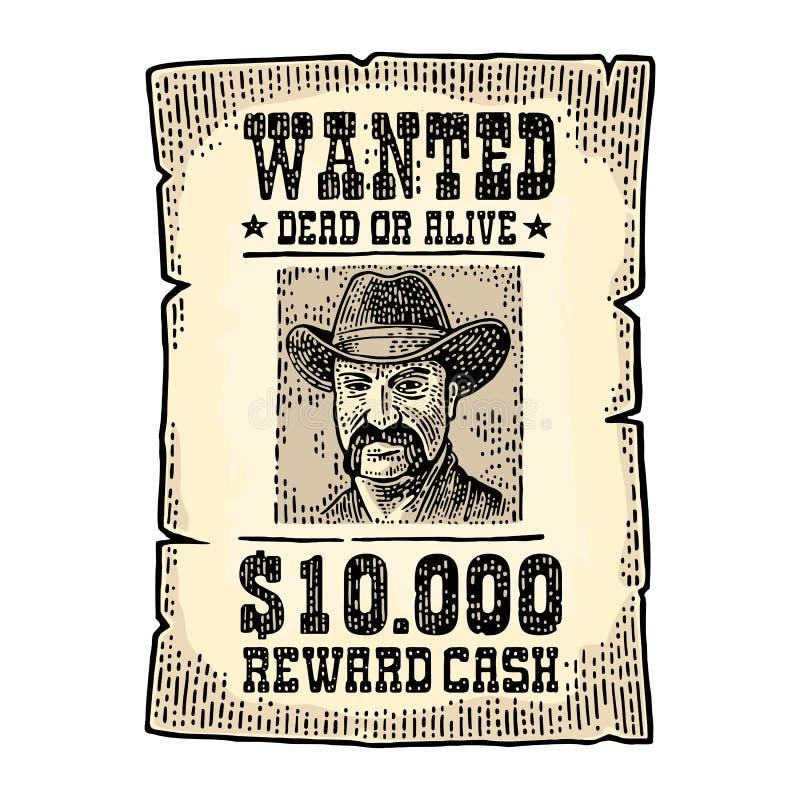 Chcieć plakat z mężczyzna w kapeluszu Rocznika rytownictwo royalty ilustracja